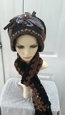 Ladies black brown knitted set hat and scarf warm for Autumn/winter one size.