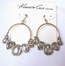 Crystal Circle Drop Pierced Earrings Kenneth Cole Gold & Clear Krackle