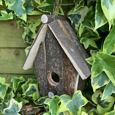 Traditional Wooden Rough Cut Bird Nesting Box House Small Wild Robin Sparrow