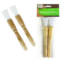 Natural Wood Pastry Brushes Pack of 2 Baking Cooking Glazing Cakes Pies Brush