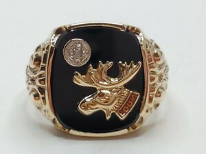 Mens 10k Solid Yellow Gold LOOM Moose Lodge Diamond Accent Vintage Ring Size 11