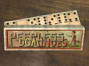 Antik Vintage Peerless Dominoes Domino Gesellschaftsspiel Spiel um 1880 Reklame