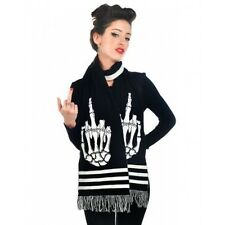 TOO FAST UP YOURS KNITTED BLACK AND WHITE SCARF WITH FRINGE. LAST CHANCE TO BUY!