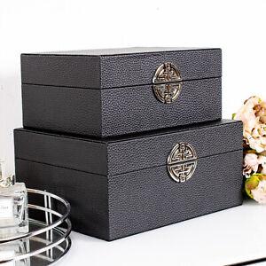 Set of 2 Black  Boxes Storage Faux Leather Trinket Metal Decorative Home Chic