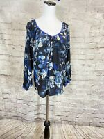 Rebecca Taylor Women's Tunic Top Black  Floral V Neck Size 6 Blue Silk