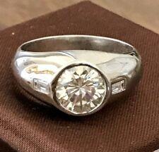 Certified 3.00ct Near White Moissanite Men's Engagement Ring in 14K White Gold