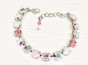 Cup Chain Bracelet PINK OPAL BRACELET made w/ light PINK Swarovski Crystals