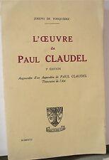 Tonquédec; L'oeuvre de Paul Claudel, 1927 -