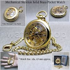 Mechanical Pocket Watch Gold Skeleton Brass Case See-Through Back + Fob Chain 45