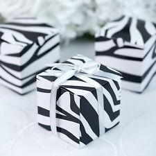 "100 pcs Zebra Black and White FAVOR BOXES 3""x3"" Wedding Party Home Decorations"