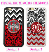 MAROON RED BLACK DAMASK CHEVRON MONOGRAM PHONE Case Cover For iPhone XR XS 8 7 6