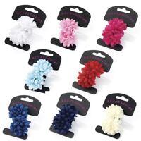 2 Flower Hair Bobbles Ponios Bands 5cm Hair Elastics Girls Ladies Hair Accessory