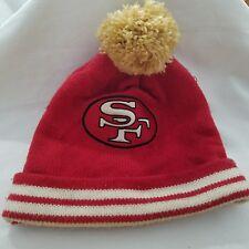 San Francisco 49ers Mitchell Ness NFL Stripe Cuff Mens Beanie Knit Pom Cap Hat