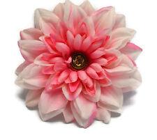 """Pink Silk Flower Hair Clip 5.5"""" Dahlia Gold Rose Center Handmade"""