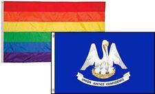 2x3 Gay Pride Rainbow & State Louisiana 2 Pack Flag Wholesale Combo 2'x3'