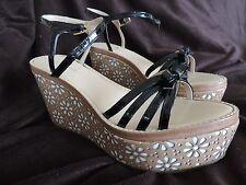 Kate Spade Titi Strappy Black Patten Wedge Platform Daisy 9.5 M Sandals Shoes