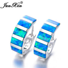 Exquisite 925 Silver Rectangle Blue Fire Opal Hoop Earrings Womens Jewelry Gifts