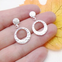Kreis Ring gehämmert Design Ohrringe Ohrstecker Stecker 925 Sterling Silber neu