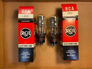 NOS NIB Matched Pair 1961/65 RCA 2A3 Tubes Dual D Getters TEST GREAT