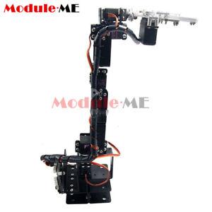 Aluminium Robot 6DOF Arm Claw Mount Kit Mechanical Robotic Arm For Arduino Black