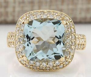 5.45 Carat Natural Aquamarine 14K Yellow Gold Diamond Ring
