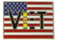 Vietnam Veteran Ribbon on US Flag Hat or Lapel Pin H14113D108