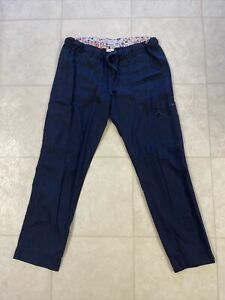 Koi Stretch Lindsey Skinny Cargo Scrub Pants Navy Blue Sz Medium Petite