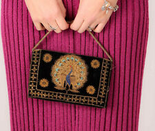 Biil 30 S 40 S Vintage Double Sided Gold Silver Metal Thread clutch bag