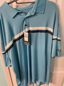 Callaway Golf Yarn Dyed Birdseye Color Light Blue Polo Shirt 4XL Brand new