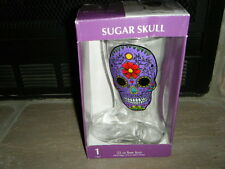 PURPLE SUGAR SKULLS GLASS BEER BOOT GIANT 33 OZ 1 LITER  DAY OF THE DEAD HEAVY!!