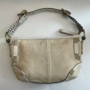 Coach Raffia Straw Wicker Shoulder Bag Purse Beige/White Braided Leather Strap