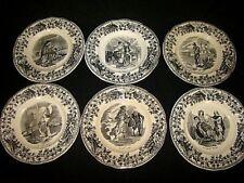 """série de 6 assiettes décoratives en porcelaine opaque de """" CREIL et MONTEREAU """""""