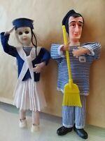 Statua omino Totò e Marinaia in coppia Stoffa pubblicitario toto'brodo star