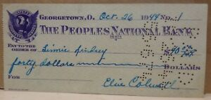 Georgetown Ohio Canceled Check The Peoples National Bank 1944