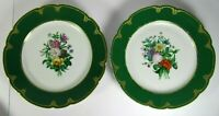 Antique Cabinet Plate PAIR French Old Paris Porcelain Hand Painted Sevres Style