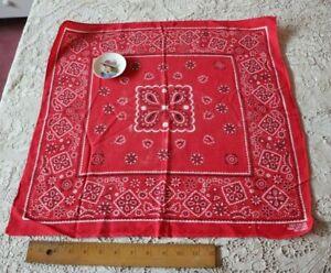 "American Vintage ""Fast Color"" Red Cotton Bandana c1940-1950s~20"" Square"