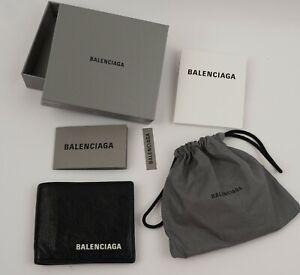 Balenciaga Logo Black Leather Men's 8 CARD Wallet - ORIGINAL BOX AND RECEIPT