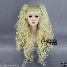 Lolita Cosplay Wig Haar Locken Haar Hell Blond Neu Harajuku Perücke + 2Ponytail