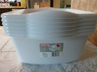 Box of 6 White Sterite Plastic Wash Tubs Book Bins New Dish Pan Never USed