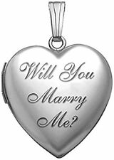 "Sterling Silver "" Will You Marry Me "" Sweetheart Locket - 3/4 Inch X 3/4 Inch"