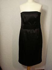 M&Co black satin strapless evening/party dress 14