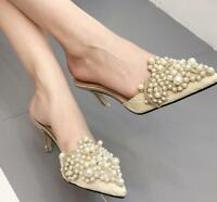 Womens Shoes Pearls Stilettos Lace Pointed Toe High Heels Slippers Mules Sandals