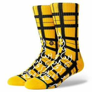 "Stance ""Burning Up"" Classic Crew Socks (Yellow) Men's Graphic Print Sock"