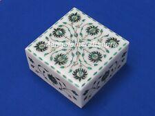 "7"" x 7"" x 3"" Marble Jewelry Box Malachite Semi Precious Stone Handmade For Gifts"