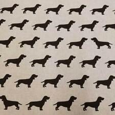 Stoff Meterware Baumwollstoff pflegeleicht natur Dackel Hund schwarz Teckel Neu