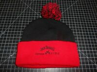 New Vintage Jack Daniels Black & Red  Winter Knit Beanie Hat With Pom-Pom