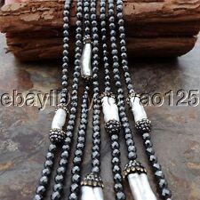 "K062603 81"" White Keshi Pearl Hematite Necklace"