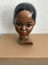 African Woman Head Ceramic 6in