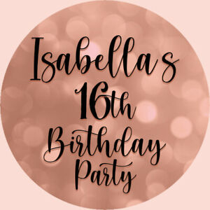 24 Personalised Stickers For Party/Sweet Cone Bags Rose Gold & Black 16th B/day