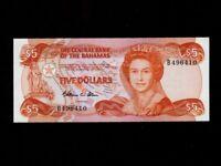 Bahamas:P-45a,5 Dollars, 1974(1984)* Queen Elizabeth II * UNC *